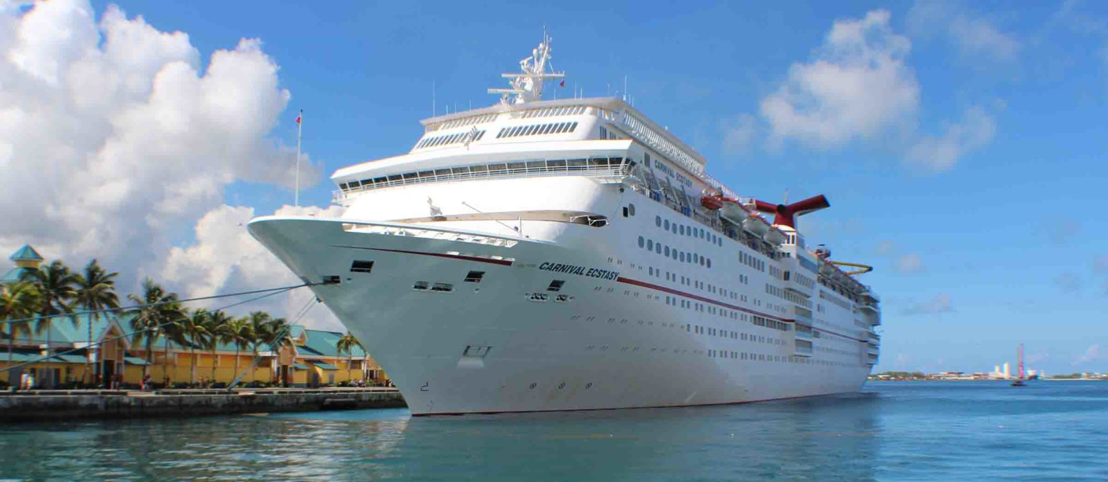 The Carnival Ecstasy in Port Nassau, Bahamas.
