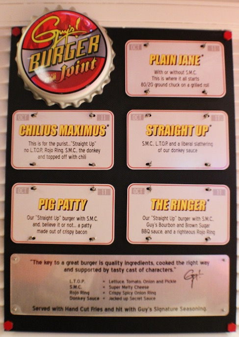 Guy's Burger Joint Menu on the Carnival Ecstasy