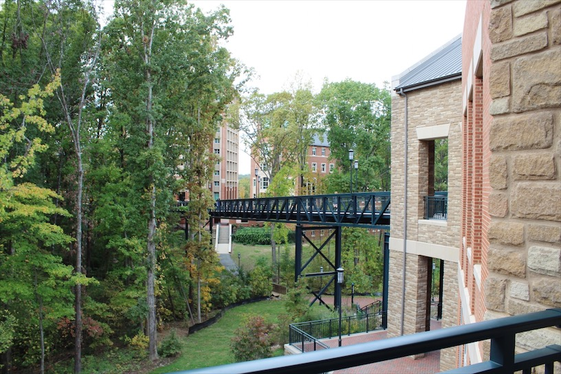 Bridge outside of the dining hall at UNC Charlotte