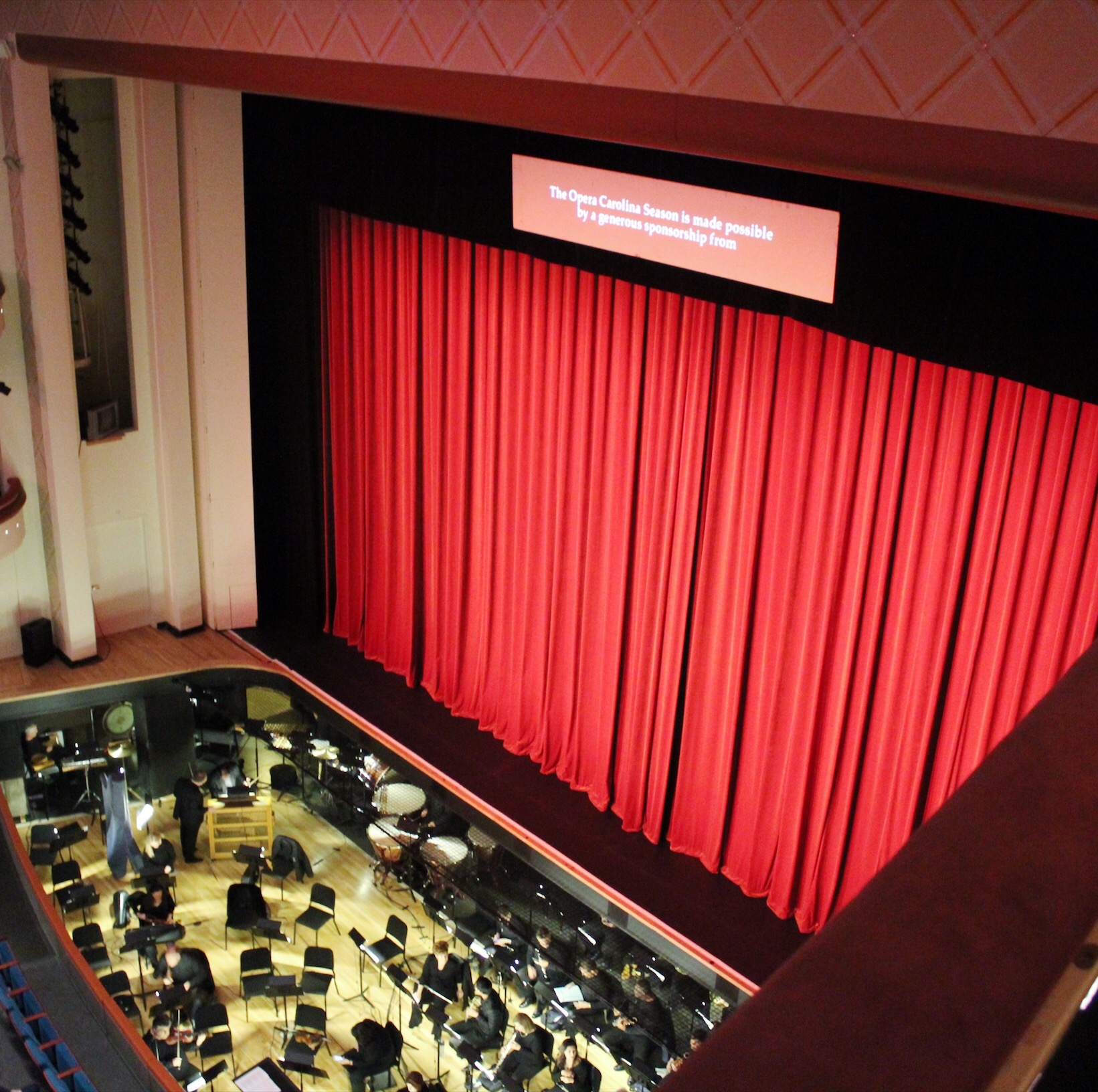 The stage and orchestra section in the Bell Theater